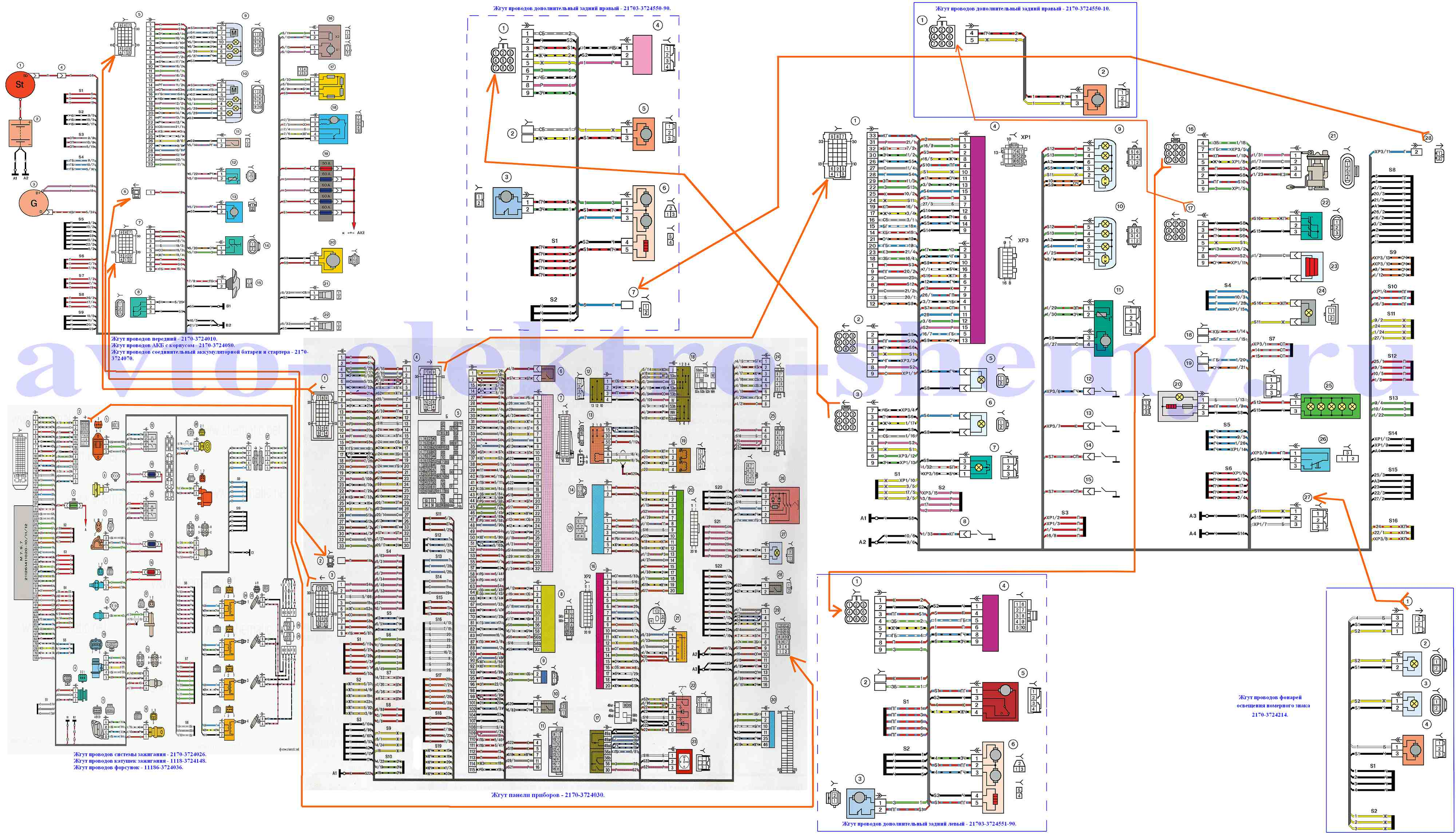 схема эл проводки ваз 2199